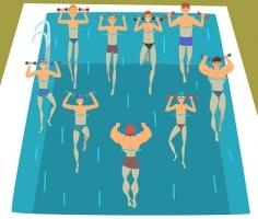 Les hommes et l'aquafitness